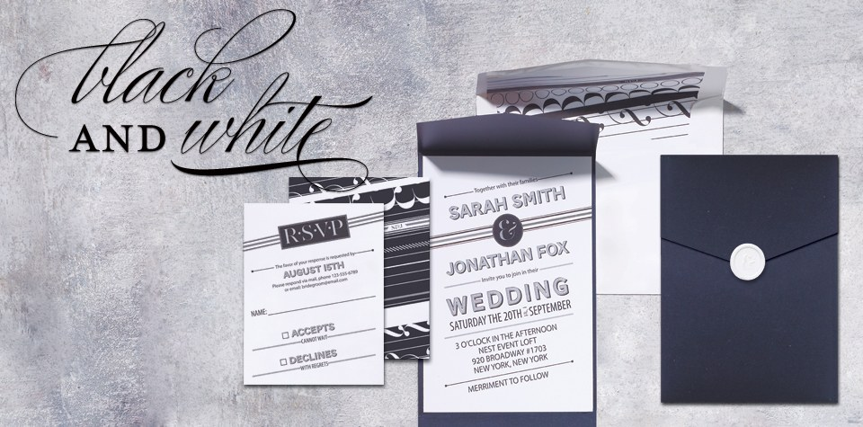 home > wedding invitations rsvp > black and white wedding invitation ...