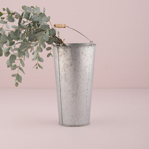 galvanized flower market bucket with handle large