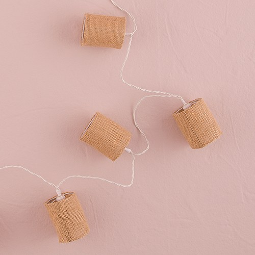 String of Lights with Natural Burlap Shades - Battery LED - Weddingstar
