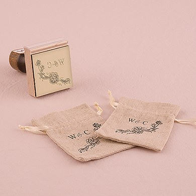 Antique Chic Floral Personalized Rubber Stamp