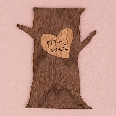Personalized Wood Veneer Sign   Tree Trunk