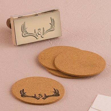 Woodland Pretty Personalized Monogram Antler Textured Rubber Stamp