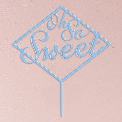 Oh So Sweet Acrylic Cake Topper   Pastel Blue