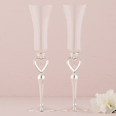 Silver Plated Open Heart and Jewel Drop Stem Champagne Wedding Flutes