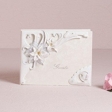 Sculptural White Tiger Lilies Traditional Wedding Guest Book