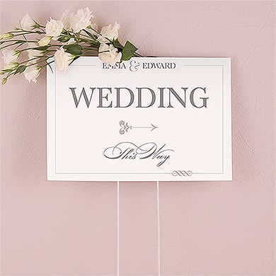 Vistaprint Wedding Gift Tags : Classic Script Personalized Directional Poster Sign
