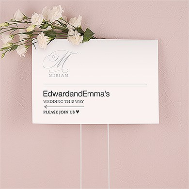 Monogram Simplicity Personalized Directional Poster Sign   Elegant