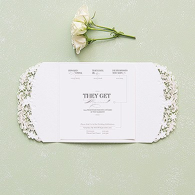 Floral Elegance Laser Embossed Invitations with Classic Script Personalization