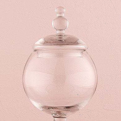 Decorative Apothecary Jar in Clear Glass   Globe Shaped Bowl on Pedestal with Lid