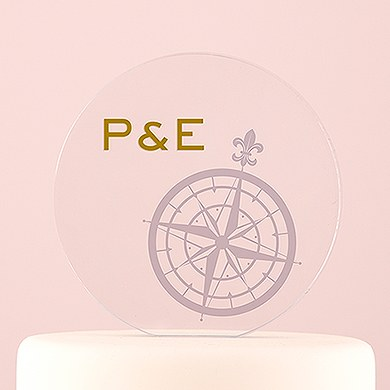 Vintage Travel Engraved Personalized Round Acrylic Block   Compass