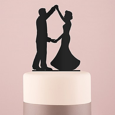 Dancing Silhouette  Acrylic Cake Topper   Black