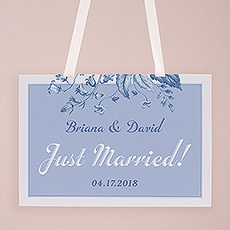 "Vintage Romance ""Just Married"" Directional Poster"