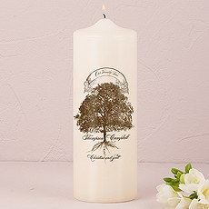 Family Oak Tree Personalized Pillar Candles