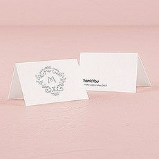 Monogram Simplicity Place Card With Fold - Classic Filigree