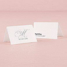 Monogram Simplicity Place Card With Fold - Elegant
