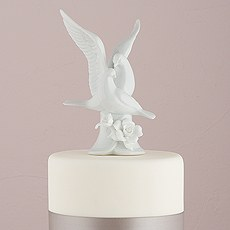 Glazed Porcelain Doves and Flower Cake Topper