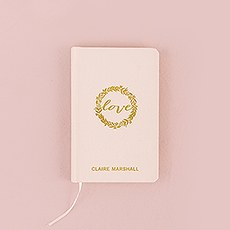 Ivory Linen Pocket Journal - Love Wreath Emboss