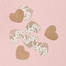 Kraft Paper with Lace Heart Confetti
