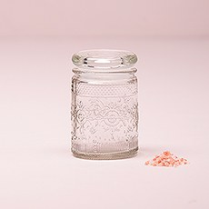 Pressed Glass Vintage Mason Jar with Stopper - Miniature