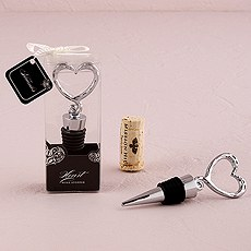 Wine Stopper Favor Silver Heart Shaped
