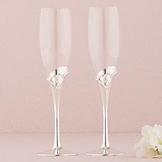 Silver Loop Heart Wedding Champagne Glasses
