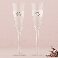 Rhinestone Double Heart Wedding Champagne Glasses
