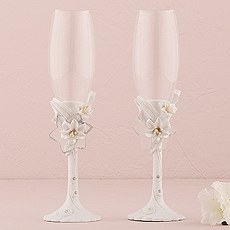 Sculptural White Tiger Lilies Wedding Champagne Flutes