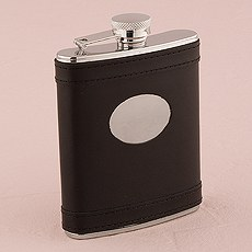 Black Leather Stainless Steel Hip Flasks