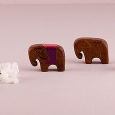 "Miniature ""Good Luck"" Wooden Elephants"