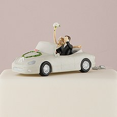 """""""Honeymoon Bound"""" Couple in Car Cake Topper"""