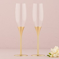 Gold Wedding Champagne Glasses with Crystal Gems