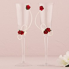 Flower of Love in Romantic Red Wedding Champagne Flutes