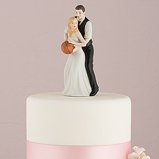 One on One Basketball Bride and Groom Cake Topper