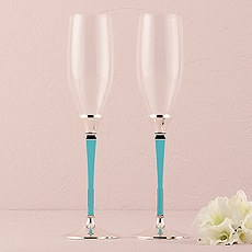 Wedding Champagne Glasses with Blue and Silver Stem