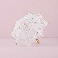 White Battenburg Lace Parasol - Small