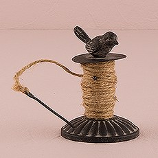 Decorative Bird Metal Spool with Jute Twine