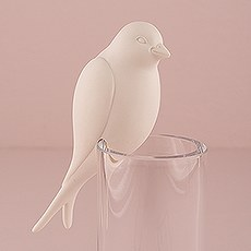 """Perching"" White Ceramic Bird"
