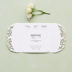 Floral Elegance Laser Embossed Invitations with Classic Script Personalisation
