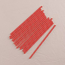 """Sippers"" Small White Polka Dot Paper Straws"