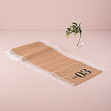 Burlap Chic Personalized Burlap Table Runner With Lace Edging