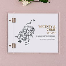 Clear Acrylic Wedding Guest Book - Antique Chic Etching