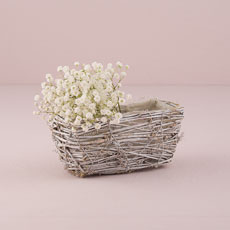 Tapered Wicker Basket with White Wash and Liner - Small
