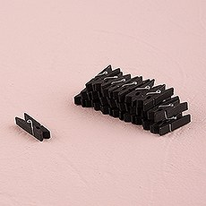 Miniature Black Wooden Clips