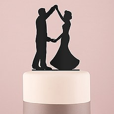 Dancing Silhouette Acrylic Cake Topper - Black