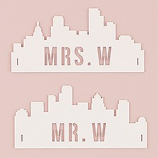 Personalized Industrial Cityscape Silhouette White Acrylic Wedding Chair Signs