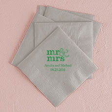 Mr & Mrs - Standard Printed Napkins