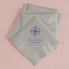 Vintage Travel Compass Printed Napkins