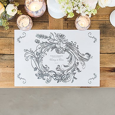 Antique Chic Personalized Paper Place Mat   Floral Frame