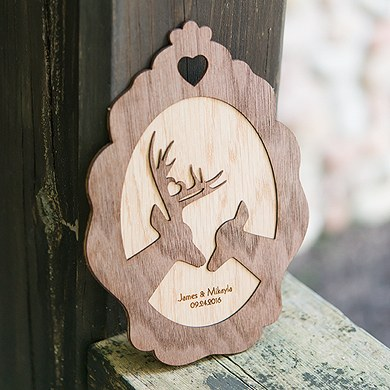 Personalized Wood Veneer Sign   Deer Sign