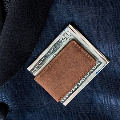 Tanned Genuine Leather Magnetic Money Clip